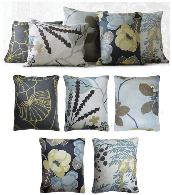Set of 5 Lemon Midnight Blue Floral Linen Cushions front – julie london