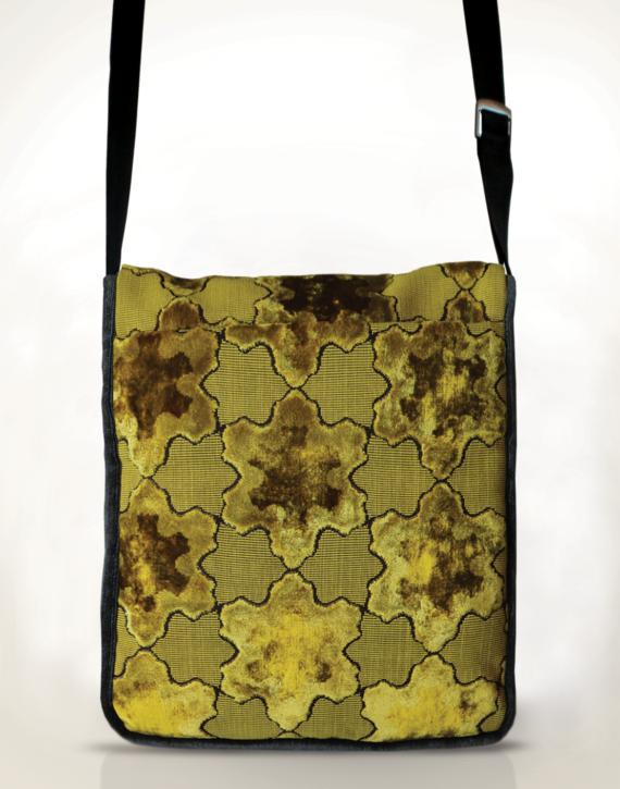 Courier PigeonSatchel Bag Velvet Gold Star back - Julie London Design