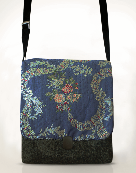 Courier Pigeon Satchel Bag Cornflower Blue front – Julie London Design