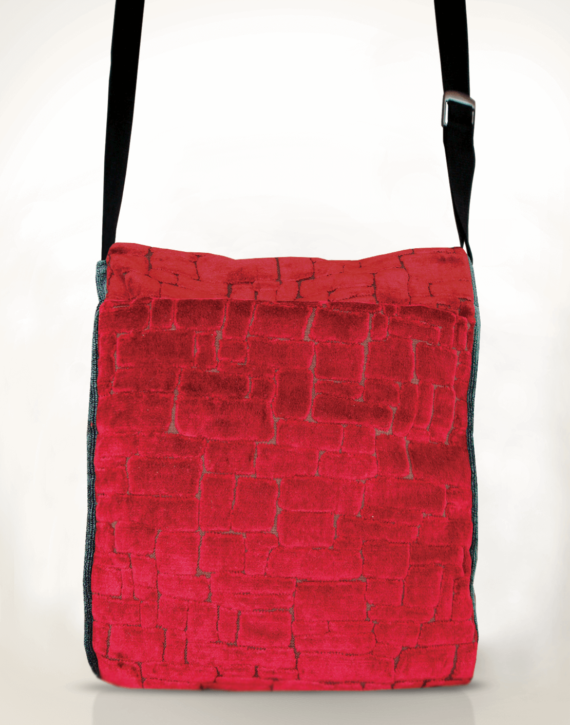 Courier Pigeon Satchel Bag Velvet Red back - Julie London Design