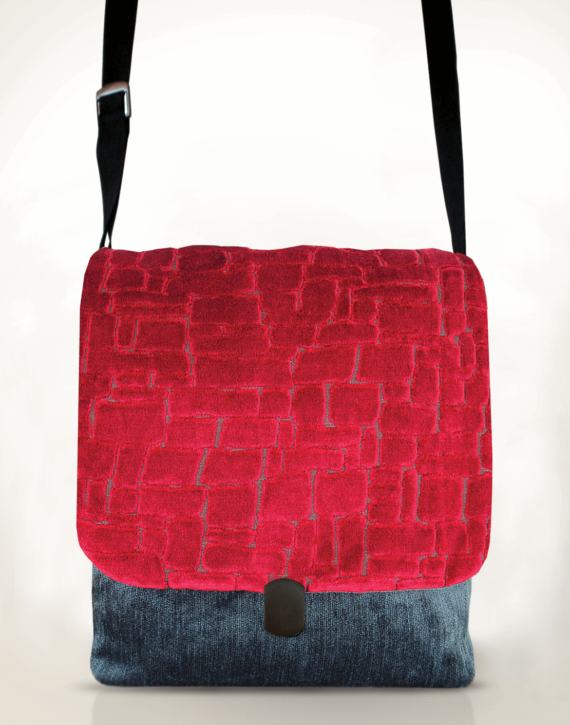 Courier Pigeon Satchel Bag Velvet Red front – Julie London Design