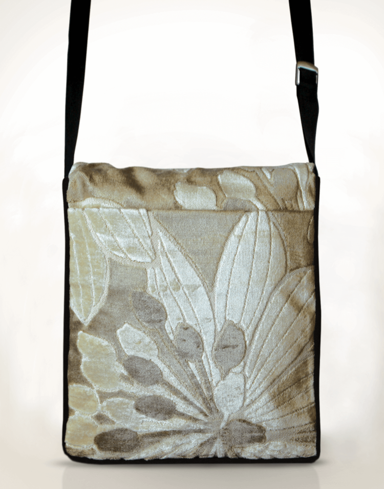 Courier PigeonSatchel Bag Velvet Flower back - julie London Design