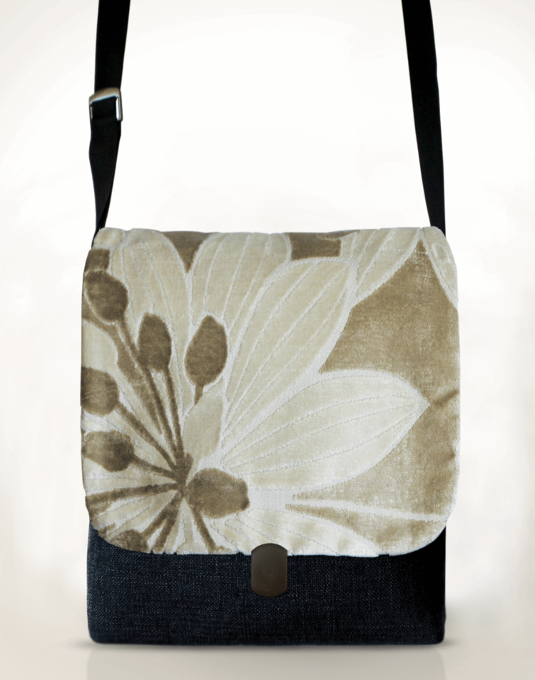 Courier PigeonSatchel Bag Velvet Flower front - julie London Design