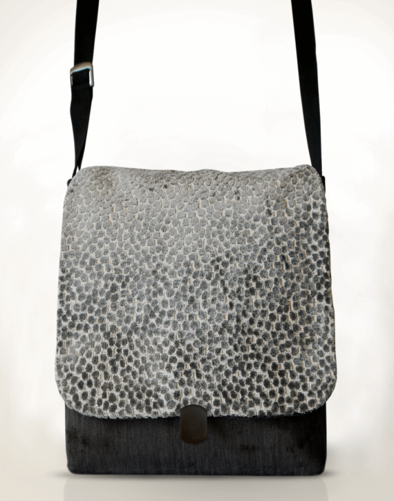 Courier Pigeon Satchel Bag Grey Spot front – Julie London Design