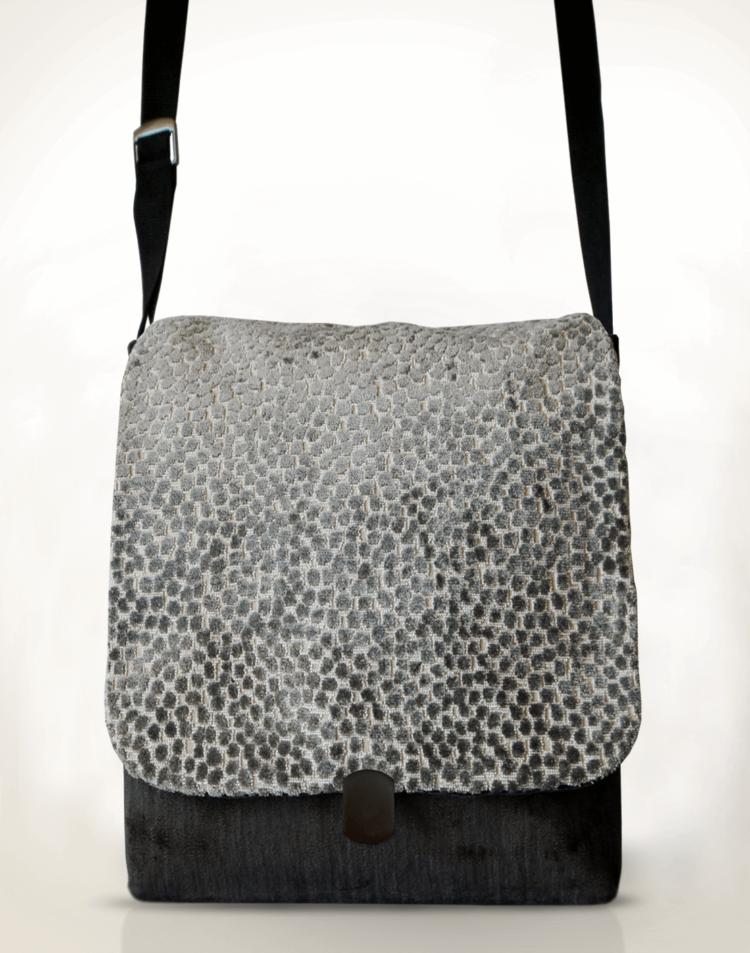 Courier PigeonSatchel Bag Grey Spot front - Julie London Design