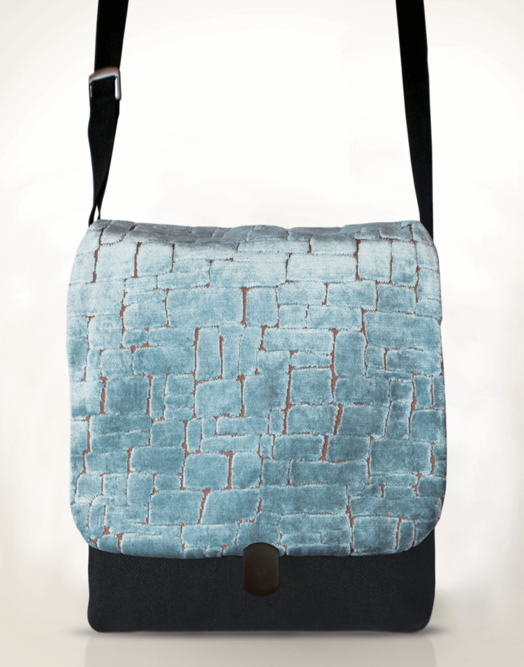 Courier Pigeon Satchel Bag Velvet Ice Blue front - Julie London Design