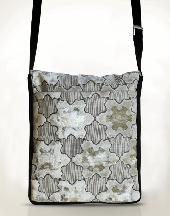 Courier PigeonSatchel Bag -White StarVelvet back - Julie London Design