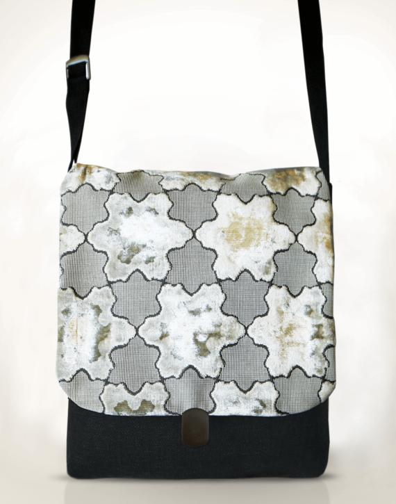Courier PigeonSatchel Bag –White StarVelvet front – Julie London Design