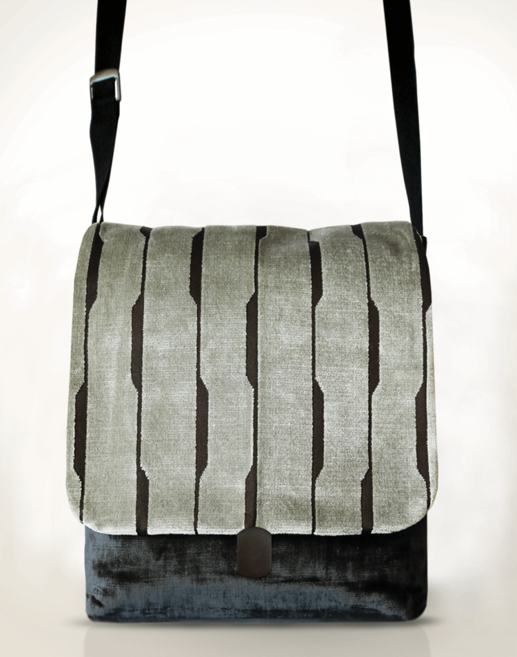 Courier PigeonSatchel Bag Velvet Sable Grey front - Julie London Design