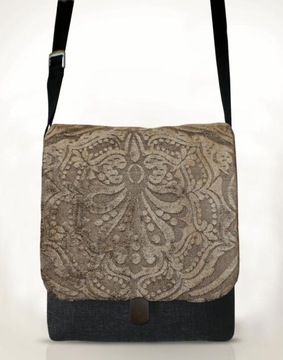 Courier PigeonSatchel Bag Embossed Velvet front – Julie London Design