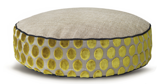 Designer Dog Bed Medium Lime Velvet Spot back - julie London