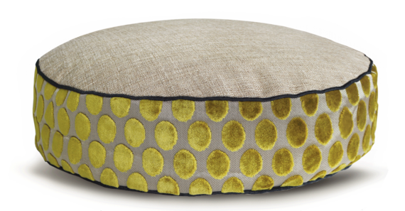 Designer Dog Bed Medium Lime Velvet Spot front – julie London