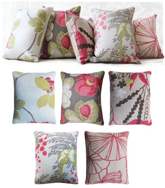 Set of 5 linen pink cushions front pink flowers