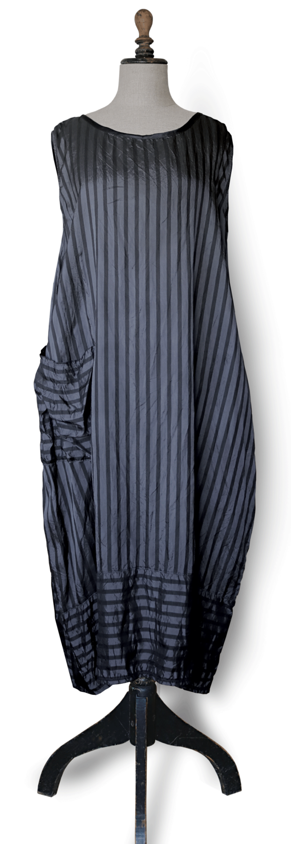 Maxi dress grey black striped front – julie london