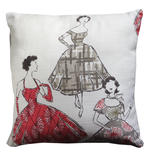 Cushion 50s Style Frocks front – julie london design