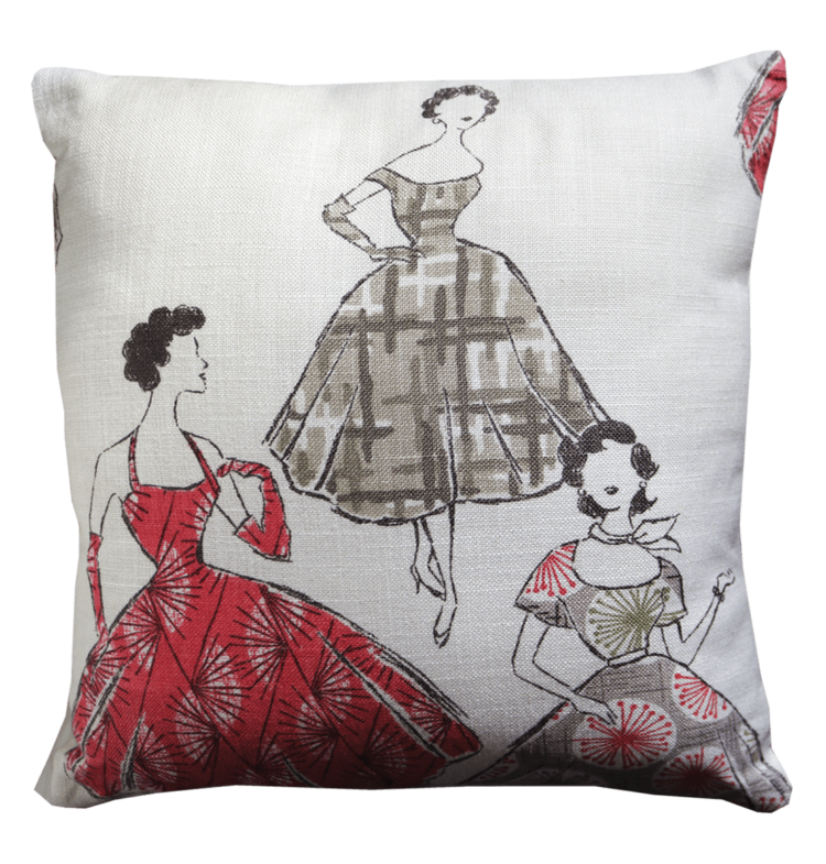 Cushion 50s Style Frocks front - julie london design