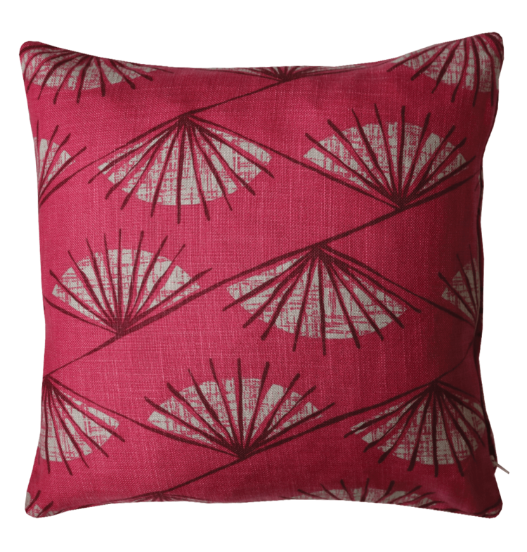 Retro 50's Style Fan Motive Cushion back - julie london