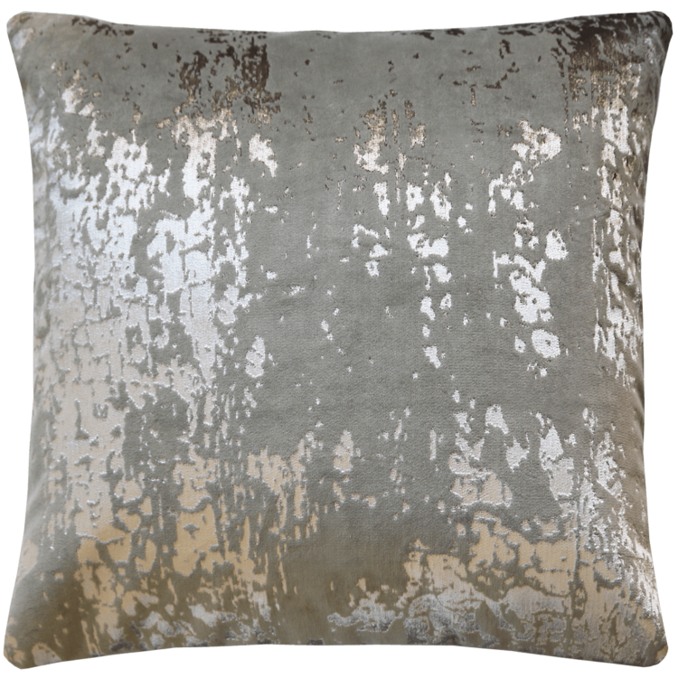 Industrial Glam Silver Printed Velvet Cushion back- Julie London