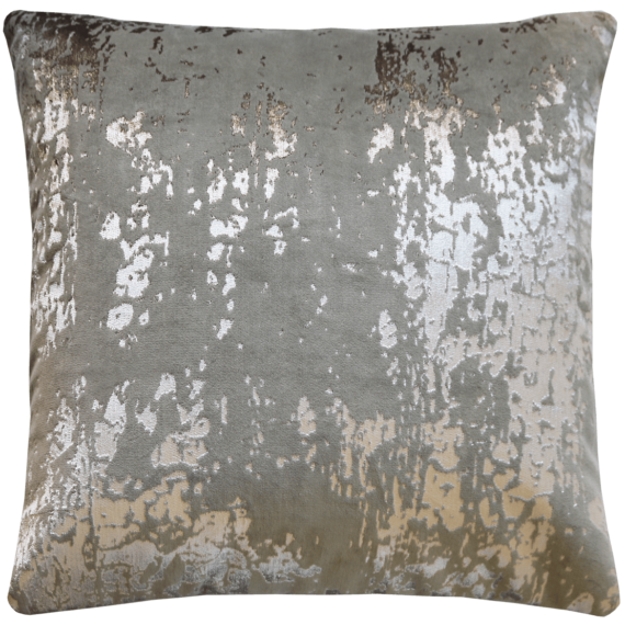 Industrial Glam Silver Printed Velvet Cushion front- Julie London