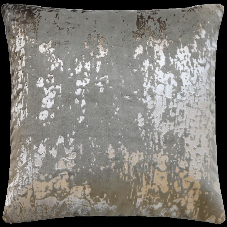 Industrial Glam Silver Printed Velvet Cushion front- Julie London