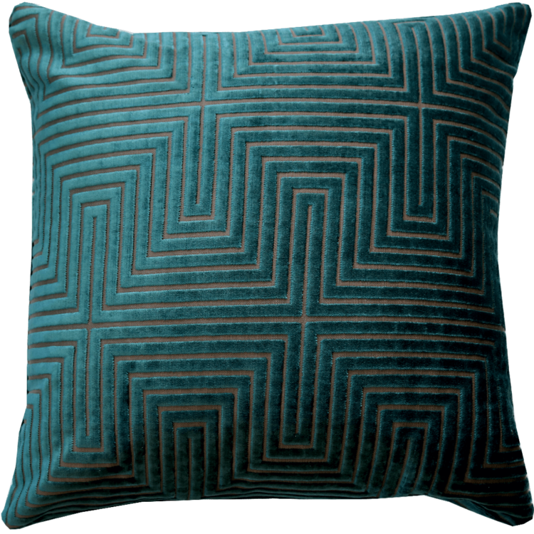 Art Deco style turquoise velvet cushion back - Julie London