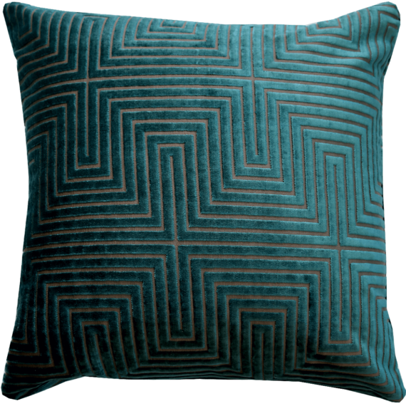 Art Deco style turquoise velvet cushion front – Julie London