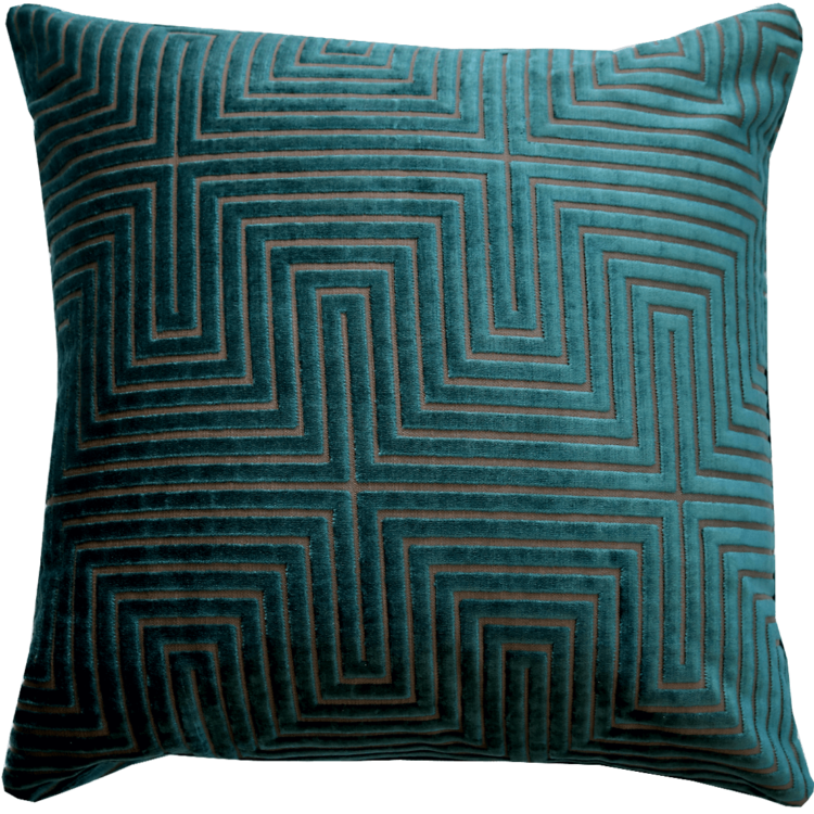 Art Deco style turquoise velvet cushion front - Julie London