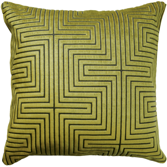 Art Deco style lemon lime velvet cushion front – julie london