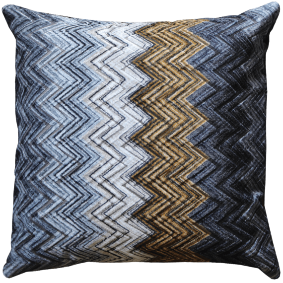 Velvet Cushion Autumnal Zig Zag back - Julie London