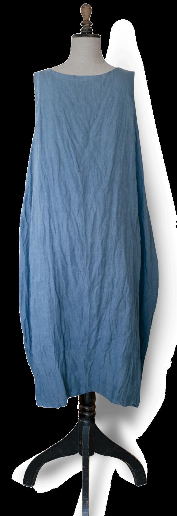 Cornflower blue linen Maxi Dress back-Julie London