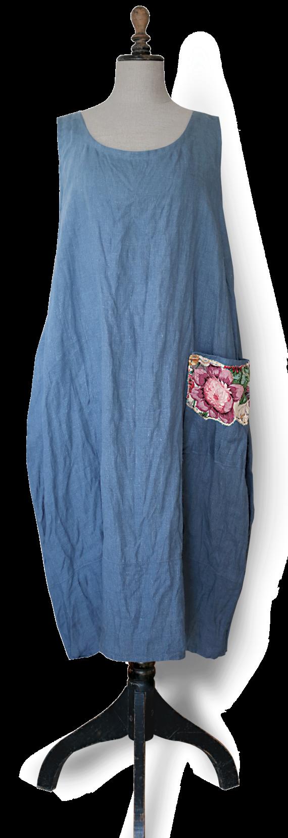 Cornflower blue linen Maxi Dress front-Julie London