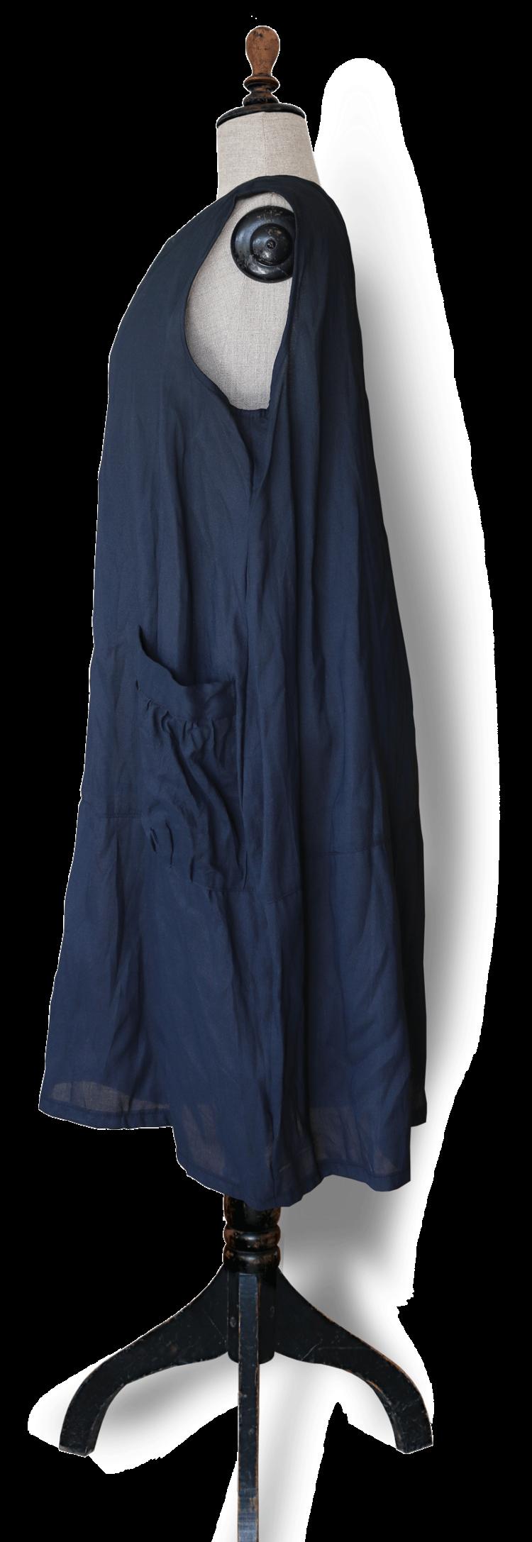 Dark Navy Linen Blend Maxi Dress - Julie London side