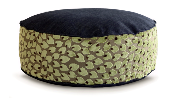 Small Dog Bed - Denim Top Velvet Leaf 2 - Julie London Design
