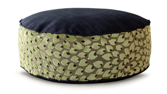 Small Dog Bed – Denim Top Velvet Leaf – Julie London Design