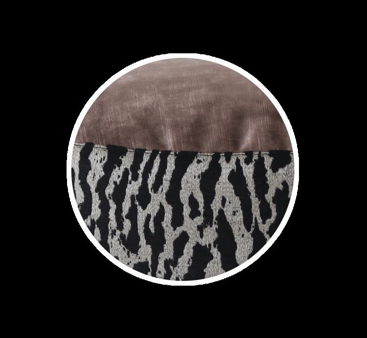 Designer Tall Pet Bed SmallMauveVelvet Tiger Print close - Julie London