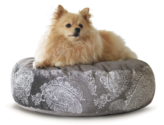 Luxury Pet Bed Medium Silver Paisley Velvet hero – Julie London