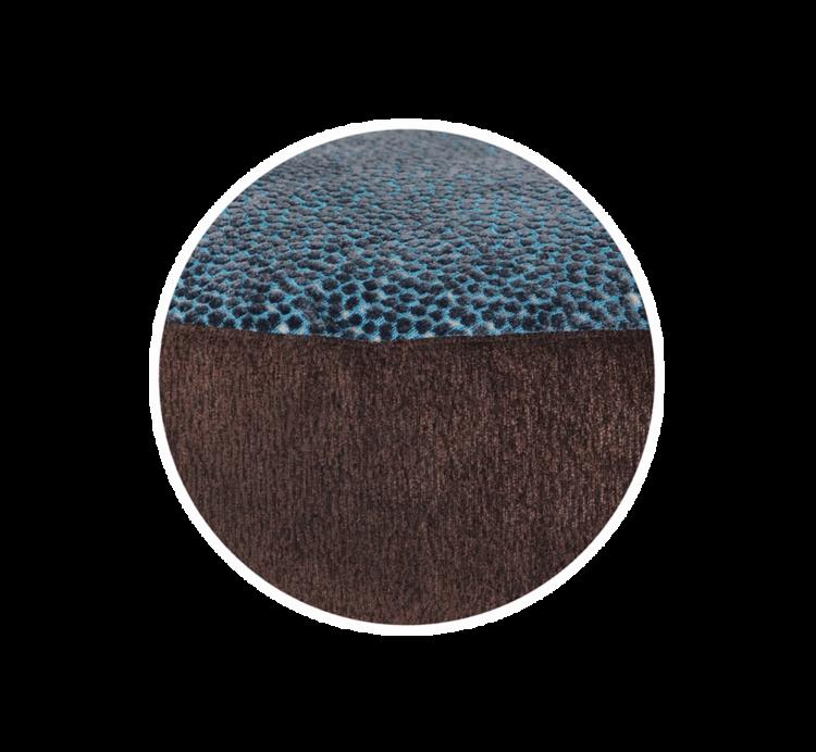 Designer Pet Bed MediumBlue BrownVelvet close up - Julie London