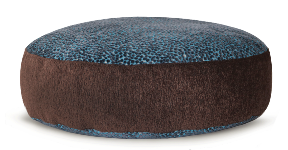 Designer Pet Bed Medium Blue Brown Velvet front – Julie London