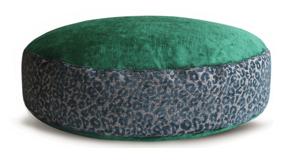 Designer Dog Bed medium Green Velvet Leopard Print back - Julie London