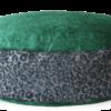 Designer Dog Bed mediumGreenVelvet Leopard Print front - Julie London