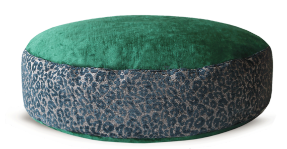 Designer Dog Bed medium Green Velvet Leopard Print front – Julie London
