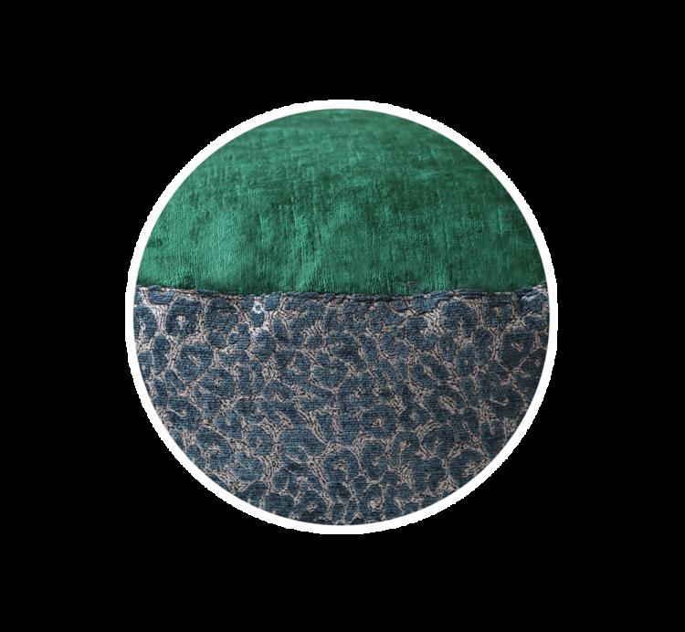 Designer Dog Bed mediumGreenVelvet Leopard Print close up - Julie London