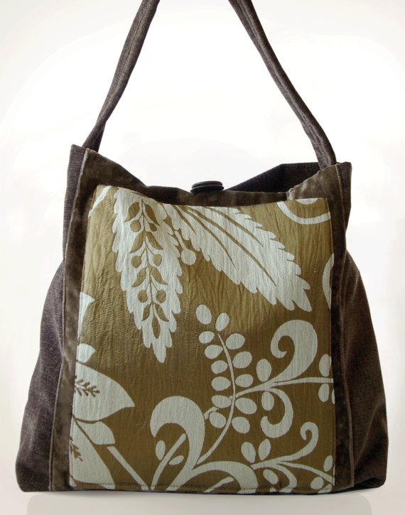 Mother Hen Large Tote Bag Gold Brown front – Julie London Design