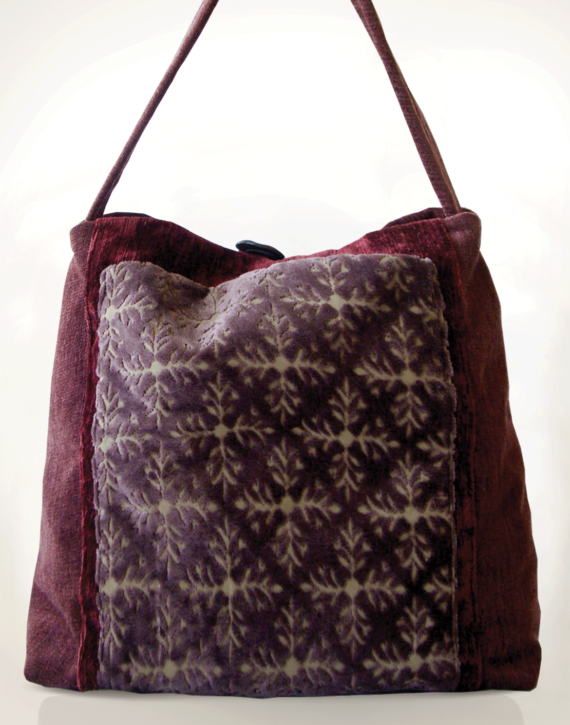 Mother Hen Large Tote Bag Velvet Plum front – Julie London Design