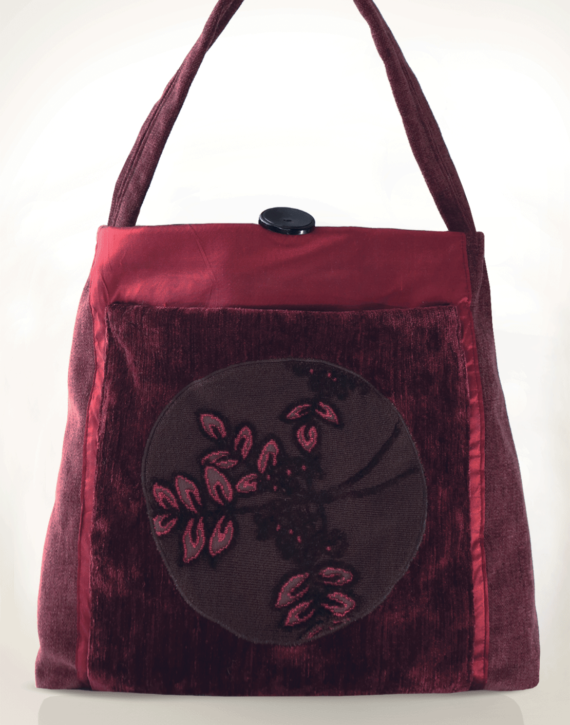Mother Hen Large Tote Bag Floral Velvet front – Julie London Design