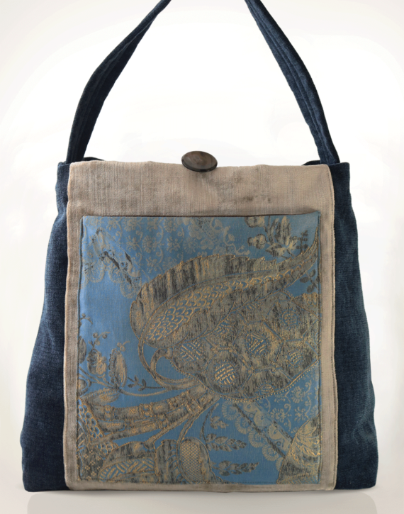 Mother Hen Large Tote Bag Sky Blue Grey front – Julie London design