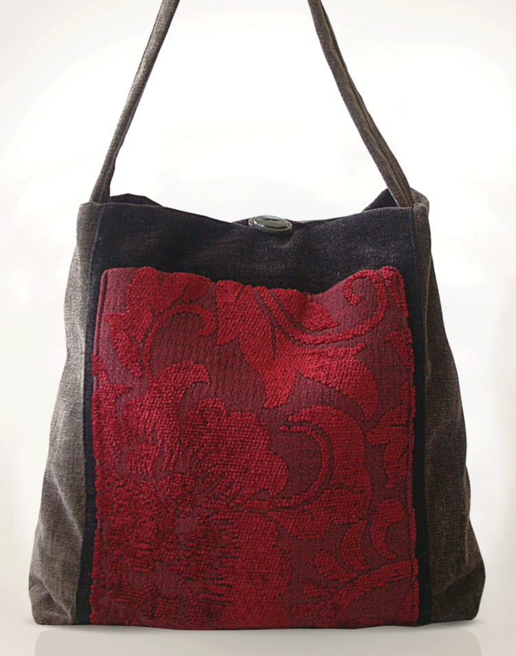 Mother Hen Large Tote Bag Rich Red front - Julie London design