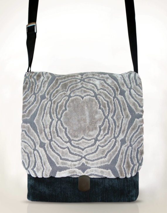 Courier PigeonSatchel Bag velvet flower front – Julie London Design