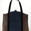 Butterfly Tote Handbag Midnight Blue Brown front - Julie London Design