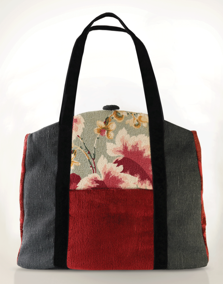 Butterfly Tote Handbag Vintage Flower front - Julie London Design